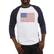 Polar Bear Patriotic Flag Print Baseball Jersey