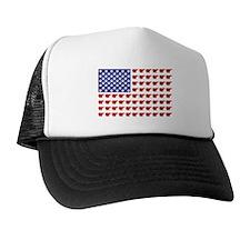Polar Bear Patriotic Flag Print Trucker Hat
