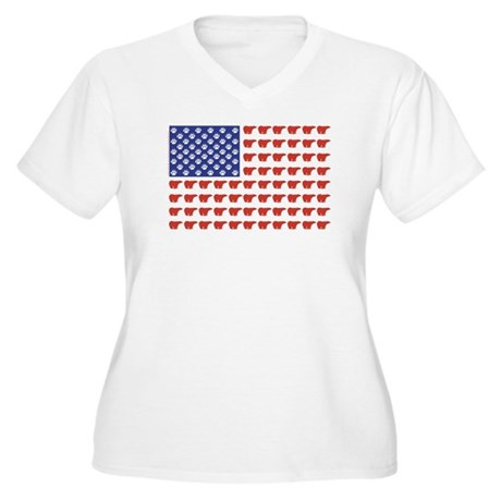 Polar Bear Patriotic Flag Print Women's Plus Size