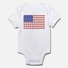 Polar Bear Patriotic Flag Print Infant Bodysuit