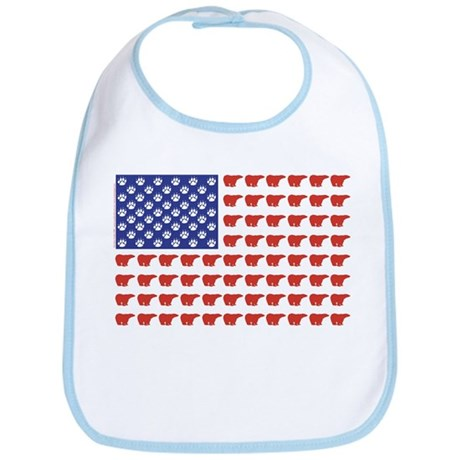 Polar Bear Patriotic Flag Print Bib