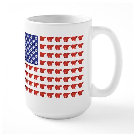 Polar Bear Patriotic Flag Print Large Mug