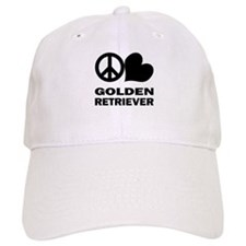 Peace Love Golden Retriever Baseball Cap
