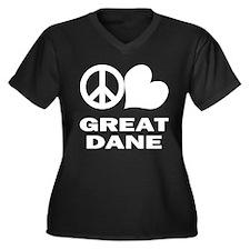 Peace Love Great Dane Women's Plus Size V-Neck Dar