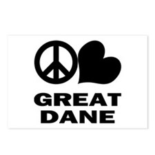 Peace Love Great Dane Postcards (Package of 8)