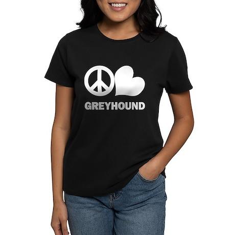 Peace Love Greyhound Women's Dark T-Shirt