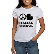 Peace Love Italian Greyhound Tee