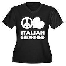 Peace Love Italian Greyhound Women's Plus Size V-N
