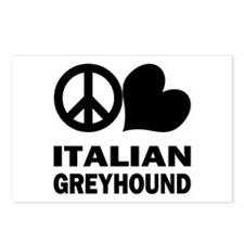 Peace Love Italian Greyhound Postcards (Package of