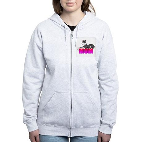 Black Siberian Husky Mom Women's Zip Hoodie