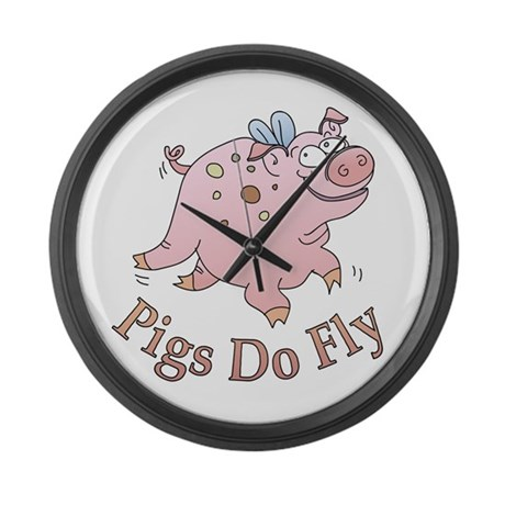 Pigs Do Fly Large Wall Clock