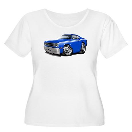 Duster Blue-White Car Women's Plus Size Scoop Neck