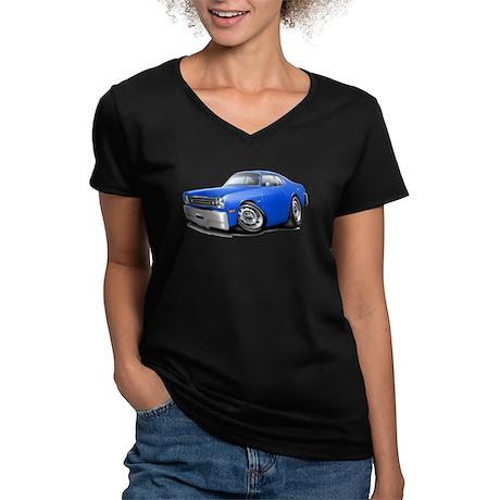 Duster Blue Car Women's V-Neck Dark T-Shirt