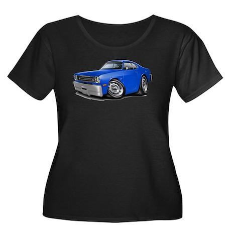 Duster Blue Car Women's Plus Size Scoop Neck Dark