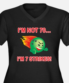 70th Bday Strikes Women's Plus Size V-Neck Dark T-