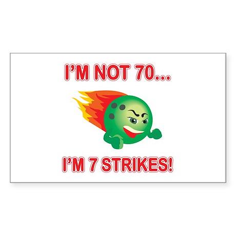 70th Bday Strikes Sticker (Rectangle)