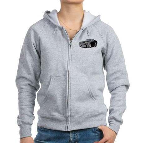 1970-74 Duster Black Car Women's Zip Hoodie