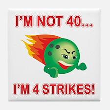 40th Bday Strikes Tile Coaster