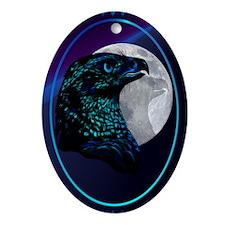 Black Eagle and Moon Ornament (Oval)