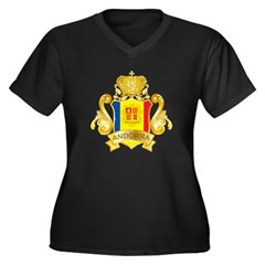 Gold Andorra Women's Plus Size V-Neck Dark T-Shirt