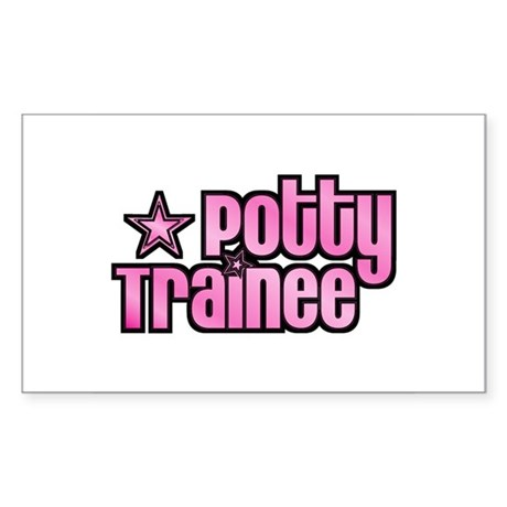 Potty Trainee Pink Girl Rectangle Sticker