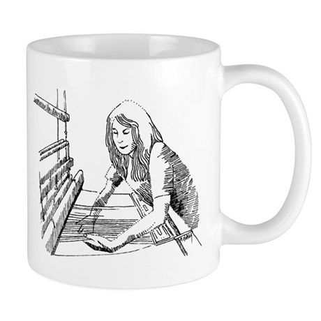 Weaving Fabric on a Loom Mug