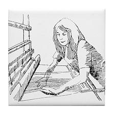 Weaving Fabric on a Loom Tile Coaster