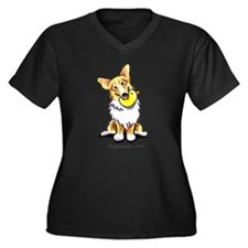 Corgi n Duck Women's Plus Size V-Neck Dark T-Shirt