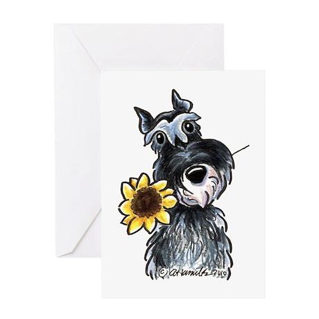 Sunflower Schnauzer Greeting Card