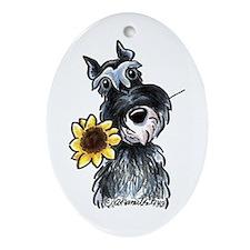 Sunflower Schnauzer Ornament (Oval)