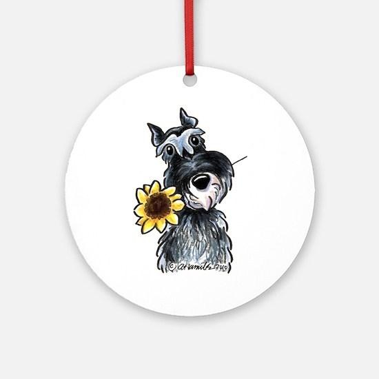 Sunflower Schnauzer Ornament (Round)