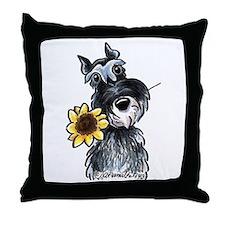 Sunflower Schnauzer Throw Pillow