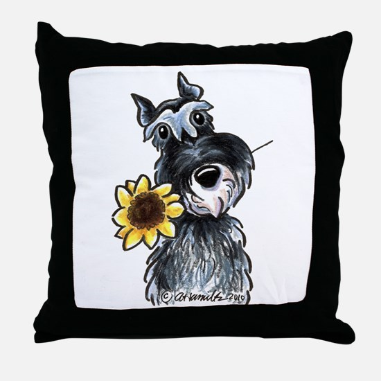 Sunflower Schnauzer Throw Pillow