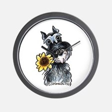 Sunflower Schnauzer Wall Clock