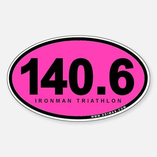 140.6 Ironman Triathlon Sticker (Oval 10 pk)