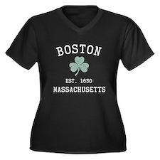 Boston Massachusetts Women's Plus Size V-Neck Dark