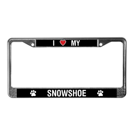 I Love My Snowshoe Cat License Plate Frame