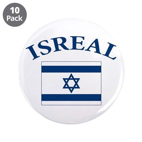 """I love Isreal 3.5"""" Button (10 pack)"""