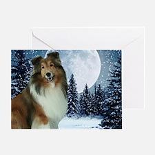 Winter Night Sheltie Greeting Card