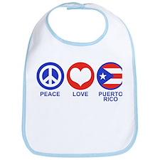 Peace Love Puerto Rico Bib