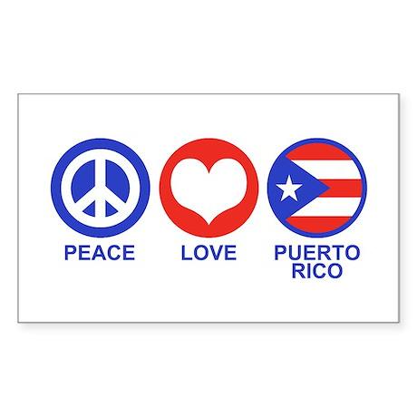 Peace Love Puerto Rico Sticker (Rectangle)
