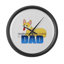 Pembroke Welsh Corgi Dad Large Wall Clock