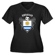 Uruguay Football Women's Plus Size V-Neck Dark T-S