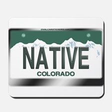 """NATIVE"" Colorado License Plate Mousepad"