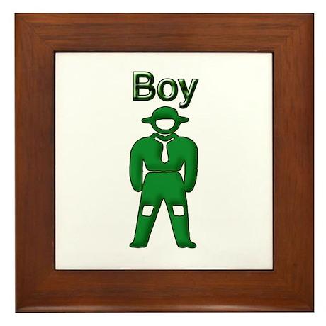 Boy Camper Framed Tile