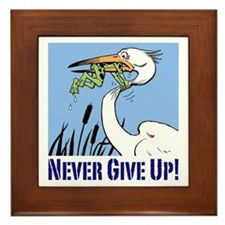 Never Give Up Framed Tile