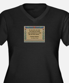 Looking At Books Women's Plus Size V-Neck Dark T-S