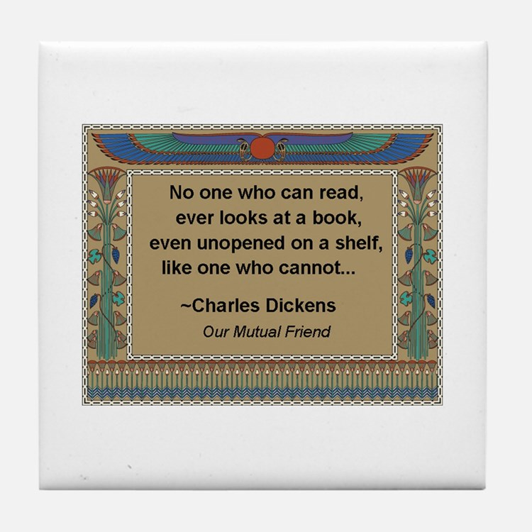 Looking At Books Tile Coaster