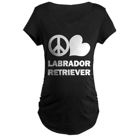 Peace Love Labrador Retriever Maternity Dark T-Shi