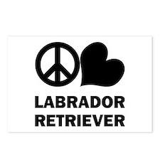 Peace Love Labrador Retriever Postcards (Package o